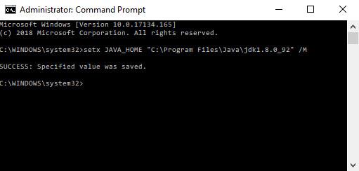 Set JAVA_HOME using command line