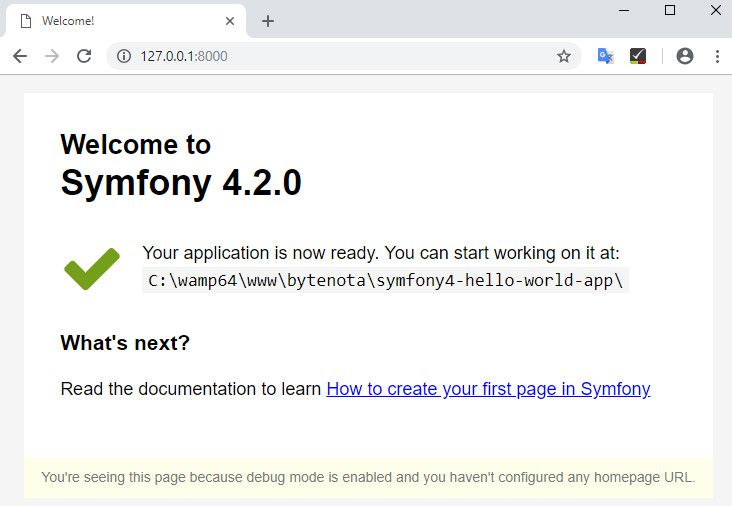 Symfony 4 welcome page